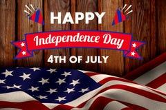 Σύνθετη εικόνα της ψηφιακά παραγμένης εικόνας της διακόσμησης ημέρας της ανεξαρτησίας με το κείμενο ελεύθερη απεικόνιση δικαιώματος