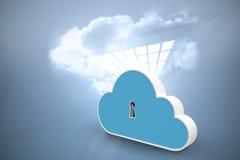 Σύνθετη εικόνα της ψηφιακά παραγμένης εικόνας της κλειδαρότρυπας στο ντουλάπι μορφής σύννεφων τρισδιάστατο απεικόνιση αποθεμάτων