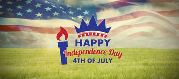 Σύνθετη εικόνα της ψηφιακά παραγμένης εικόνας του ευτυχούς κειμένου ημέρας της ανεξαρτησίας διανυσματική απεικόνιση