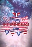Σύνθετη εικόνα της ψηφιακά παραγμένης εικόνας του ευτυχούς κειμένου ημέρας της ανεξαρτησίας με τη διακόσμηση διανυσματική απεικόνιση