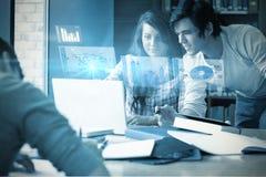 Σύνθετη εικόνα της ψηφιακά παραγμένης εικόνας του διαγράμματος πιτών και της γραφικής παράστασης φραγμών στοκ φωτογραφία με δικαίωμα ελεύθερης χρήσης