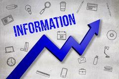 Σύνθετη εικόνα της ψηφιακά παραγμένης εικόνας του κειμένου πληροφοριών απεικόνιση αποθεμάτων