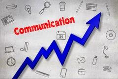 Σύνθετη εικόνα της ψηφιακά παραγμένης εικόνας του κειμένου επικοινωνίας απεικόνιση αποθεμάτων