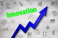 Σύνθετη εικόνα της ψηφιακά παραγμένης εικόνας του κειμένου καινοτομίας απεικόνιση αποθεμάτων