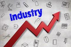 Σύνθετη εικόνα της ψηφιακά παραγμένης εικόνας του κειμένου βιομηχανίας απεικόνιση αποθεμάτων