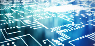 Σύνθετη εικόνα της ψηφιακά παραγμένης εικόνας του μπλε πίνακα κυκλωμάτων απεικόνιση αποθεμάτων