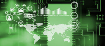 Σύνθετη εικόνα της ψηφιακά παραγμένης εικόνας του πίνακα κυκλωμάτων διανυσματική απεικόνιση
