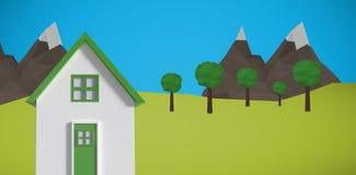 Σύνθετη εικόνα της ψηφιακά παραγμένης εικόνας του σπιτιού απεικόνιση αποθεμάτων