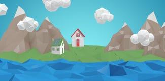 Σύνθετη εικόνα της ψηφιακά παραγμένης εικόνας του σπιτιού διανυσματική απεικόνιση