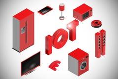 Σύνθετη εικόνα της ψηφιακά παραγμένης εικόνας των εικονιδίων κειμένων και συσκευών τρισδιάστατων Στοκ Εικόνες