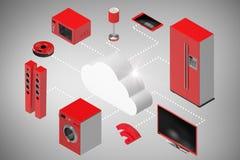 Σύνθετη εικόνα της ψηφιακά παραγμένης εικόνας των εικονιδίων σύννεφων και συσκευών τρισδιάστατων Στοκ Εικόνες