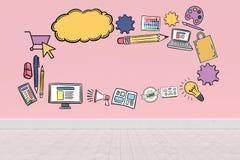 Σύνθετη εικόνα της ψηφιακά παραγμένης εικόνας των διάφορων εικονιδίων υπολογιστών απεικόνιση αποθεμάτων