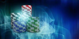 Σύνθετη εικόνα της ψηφιακά παραγμένης εικόνας των τρισδιάστατων τσιπ παιχνιδιού διανυσματική απεικόνιση