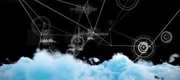 Σύνθετη εικόνα της ψηφιακά παραγμένης εικόνας των χνουδωτών σύννεφων ελεύθερη απεικόνιση δικαιώματος