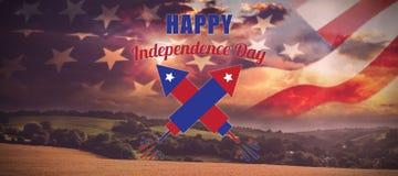 Σύνθετη εικόνα της ψηφιακά σύνθετης εικόνας του ευτυχούς κειμένου ημέρας της ανεξαρτησίας ελεύθερη απεικόνιση δικαιώματος