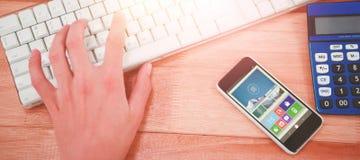 Σύνθετη εικόνα της ψηφιακά σύνθετης εικόνας του διάφορων βίντεο και των εικονιδίων Στοκ Εικόνα
