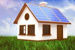 Σύνθετη εικόνα της ψηφιακά σύνθετης εικόνας του τρισδιάστατου σπιτιού με τα ηλιακά πλαίσια διανυσματική απεικόνιση