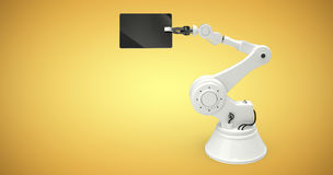 Σύνθετη εικόνα της ψηφιακής εικόνας του ρομπότ που κρατά την ψηφιακή ταμπλέτα τρισδιάστατη Στοκ Εικόνα