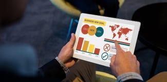 Σύνθετη εικόνα της ψηφιακής σύνθετης εικόνας της επιχειρησιακής παρουσίασης με τα διαγράμματα και το κείμενο Στοκ εικόνα με δικαίωμα ελεύθερης χρήσης