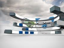 Σύνθετη εικόνα της piggy τράπεζας στην αφηρημένη οθόνη Στοκ φωτογραφία με δικαίωμα ελεύθερης χρήσης