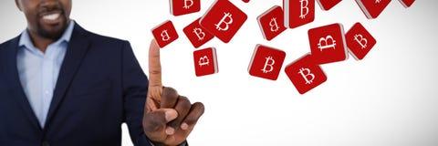 Σύνθετη εικόνα του αριστοκρατικού επιχειρηματία που δείχνει το δάχτυλό του μιλώντας Στοκ Φωτογραφίες