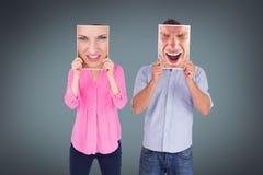 Σύνθετη εικόνα του αρκετά νέου ξανθού συναισθήματος υ Στοκ Εικόνες