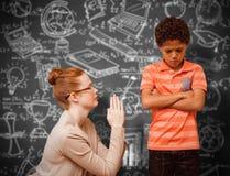 Σύνθετη εικόνα του δασκάλου που ικετεύει το αγόρι Στοκ Εικόνα