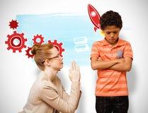 Σύνθετη εικόνα του δασκάλου που ικετεύει το αγόρι Στοκ εικόνες με δικαίωμα ελεύθερης χρήσης