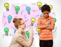 Σύνθετη εικόνα του δασκάλου που ικετεύει το αγόρι Στοκ Φωτογραφία