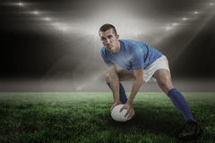 Σύνθετη εικόνα του βέβαιου παιχνιδιού φορέων ράγκμπι και τρισδιάστατος Στοκ Φωτογραφίες