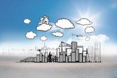 Σύνθετη εικόνα του βαραίνω πέρα από τη εικονική παράσταση πόλης doodle Στοκ Εικόνες
