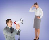 Σύνθετη εικόνα του επιχειρηματία με megaphone Στοκ φωτογραφίες με δικαίωμα ελεύθερης χρήσης