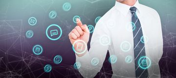 Σύνθετη εικόνα του επιχειρηματία που δείχνει με το δάχτυλό του Στοκ εικόνες με δικαίωμα ελεύθερης χρήσης