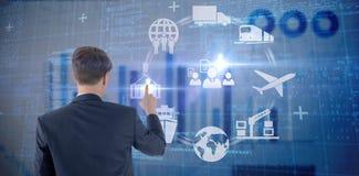 Σύνθετη εικόνα του επιχειρηματία που δείχνει κάτι με το δάχτυλό του Στοκ Εικόνα