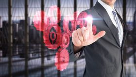 Σύνθετη εικόνα του επιχειρηματία που δείχνει με το δάχτυλό του Στοκ εικόνα με δικαίωμα ελεύθερης χρήσης