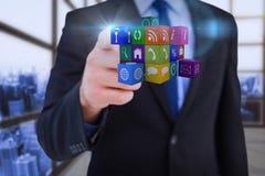 Σύνθετη εικόνα του επιχειρηματία που δείχνει στον κύβο με το δάχτυλό του Στοκ Εικόνα