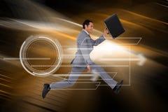 Σύνθετη εικόνα του επιχειρηματία που τρέχει με μια βαλίτσα Στοκ Φωτογραφίες