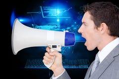 Σύνθετη εικόνα του επιχειρηματία που χρησιμοποιεί megaphone Στοκ Φωτογραφίες