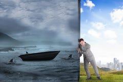 Σύνθετη εικόνα του επιχειρηματία που ωθεί μακριά τη σκηνή Στοκ Φωτογραφίες