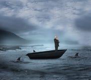 Σύνθετη εικόνα του ευτυχούς κοιτάγματος επιχειρηματιών μακριά sailboat Στοκ εικόνα με δικαίωμα ελεύθερης χρήσης