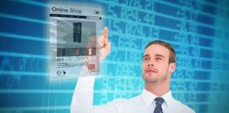 Σύνθετη εικόνα του εύθυμου επιχειρηματία που δείχνει με το δάχτυλό του Στοκ εικόνες με δικαίωμα ελεύθερης χρήσης