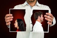 Σύνθετη εικόνα του ζεύγους που στέκεται πλάτη με πλάτη μετά από να υποστηρίξει Στοκ Εικόνες