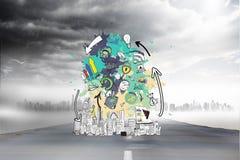 Σύνθετη εικόνα του καταιγισμού ιδεών στοιχείων στους παφλασμούς χρωμάτων Στοκ εικόνες με δικαίωμα ελεύθερης χρήσης