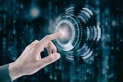 Σύνθετη εικόνα του καλλιεργημένου χεριού του επιχειρηματία σχετικά με την ψηφιακή οθόνη Στοκ φωτογραφίες με δικαίωμα ελεύθερης χρήσης