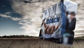 Σύνθετη εικόνα του κειμένου λεωφορείων εκμετάλλευσης επιχειρηματιών στην αφηρημένη οθόνη Στοκ Εικόνα