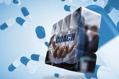 Σύνθετη εικόνα του κειμένου λεωφορείων εκμετάλλευσης επιχειρηματιών στην αφηρημένη οθόνη Στοκ φωτογραφία με δικαίωμα ελεύθερης χρήσης