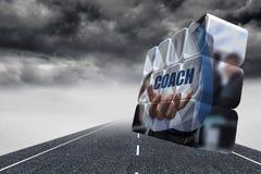 Σύνθετη εικόνα του κειμένου λεωφορείων εκμετάλλευσης επιχειρηματιών στην αφηρημένη οθόνη Στοκ Εικόνες