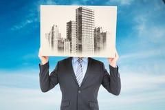 Σύνθετη εικόνα του κρύβοντας κεφαλιού επιχειρηματιών με ένα κιβώτιο Στοκ εικόνες με δικαίωμα ελεύθερης χρήσης