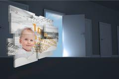 Σύνθετη εικόνα του μωρού μεγαλοφυίας στην αφηρημένη οθόνη Στοκ Εικόνες