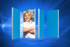 Σύνθετη εικόνα του ξανθού αγοριού στην αφηρημένη οθόνη Στοκ Φωτογραφίες